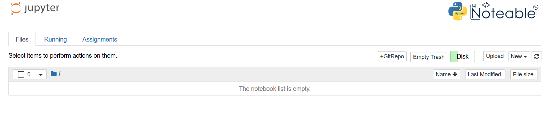 Screenshot of Noteable's launch page after starting up a notebook server